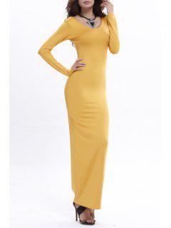 Bodycon Scoop Neck Long Sleeve Maxi Dress - Yellow Xl