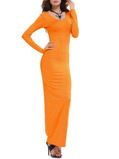 Bodycon Scoop Neck Long Sleeve Maxi Dress - Jacinth Xl