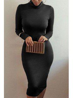 Bodycon Turtle Neck Long Sleeve Dress - Black Xl