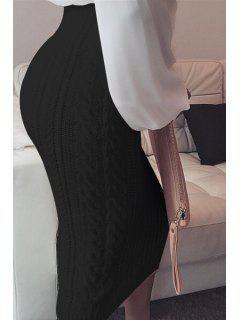 High Waisted Bodycon Knit Skirt - Black Xl