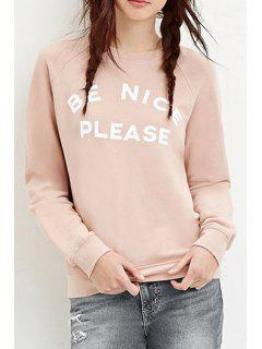 Letter Pattern Round Collar Pullover Sweatshirt - Pink 2xl