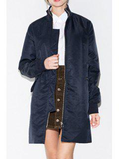 Solid Color Stand Collar Long Sleeve Coat - Navy Blue M