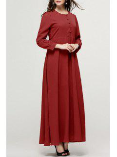 Single-Breasted Long Sleeve Maxi Dress - Wine Red L