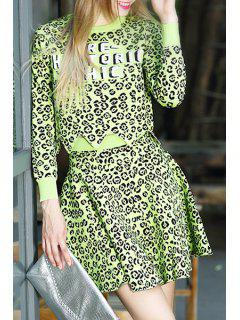 Leopard Pattern Long Sleeve Jumper And Skirt Suit - Green L