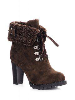 Buckle Strap Lace-Up High Heel Boots - Coffee 36