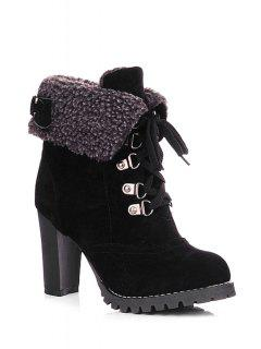 Buckle Strap Lace-Up High Heel Boots - Black 36