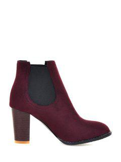 Elastic Band Solid Color Suede Ankle Boots - Red 36