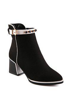 Rhinestone Buckle Solid Color Short Boots - Black 36