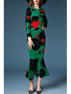 Flower Pattern Long Sleeve Sweater Dress - Green M
