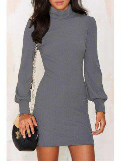 Solid Color Turtle Neck Mini Sweater Dress - Gray Xl