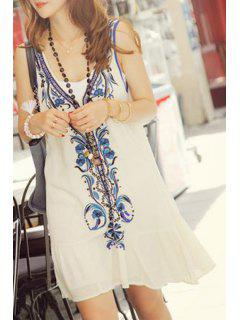 Retro Embroidery Plunging Neck Tank Dress - White M