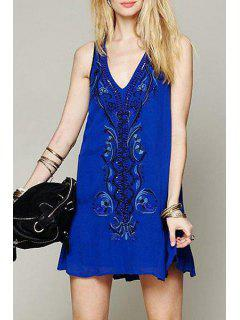 Retro Embroidery Plunging Neck Tank Dress - Blue L