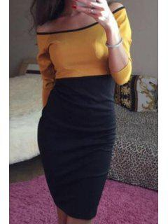 Color Block Off The Shoulder 3/4 Sleeve Dress - Yellow S
