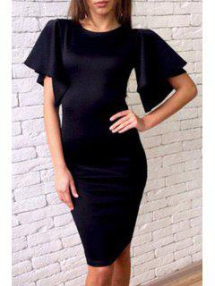 Butterfly Sleeve Pure Color Bodycon Dress - Black M