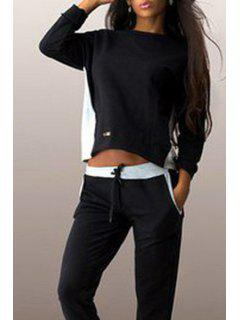 Zipper Back Round Neck Long Sleeve Coat - Black And Grey L