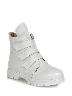 Solid Colour  Round Toe Short Boots - White 38