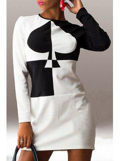 Poker Pattern Round Neck Long Sleeve Dress - White And Black M