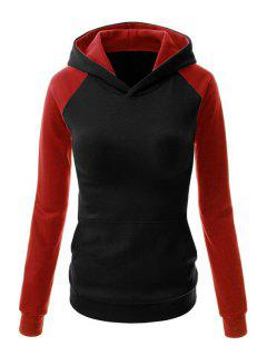 Color Block Hooded Long Sleeve Pullover Hoodie - Black Xl