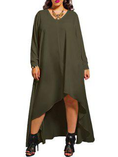 Solid Color V Neck Long Sleeve LooseDress - Army Green 3xl