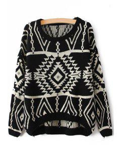 Scoop Collar Geometric Pattern Jumper - Black