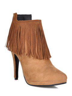 Fringe Stiletto Heel Suede Ankle Boots - Camel 35