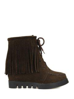 Fringe Criss-Cross Hidden Wedge Short Boots - Deep Brown 39