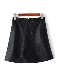 A Line Solid Color PU Leather Skirt - Black L