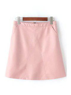 A Line Solid Color PU Leather Skirt - Pink M