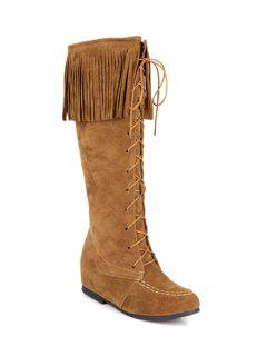 Fringe Stitching Lace-Up Mid-Calf Boots - Brown 36