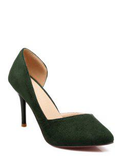Flock Solid Color Pointed Toe Pumps - Green 37