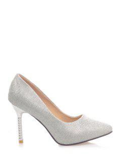 Solid Color Sequined Cloth Pointed Toe Pumps - Silver 37