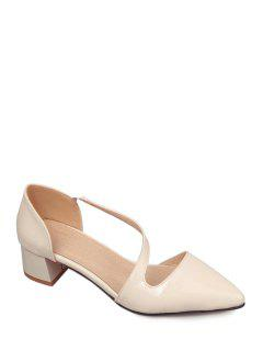 Solid Color Strap Pointed Toe Pumps - Off-white 37