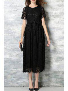 Lace Round Neck Short Sleeve A Line Dress - Black S