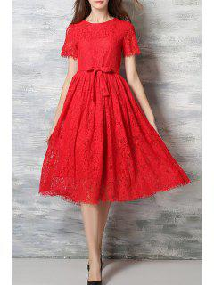 Lace Round Neck Short Sleeve A Line Dress - Red Xl