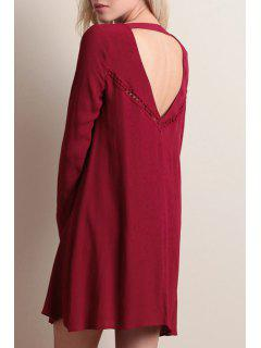 Back Cut Out Red Round Neck Loose Fitting Dress - Red S