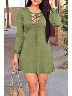 Plunging Neck Lace Up Solid Color Dress - Army Green Xl