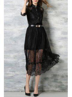 Lace Stand Neck Half Sleeve Dress - Black S
