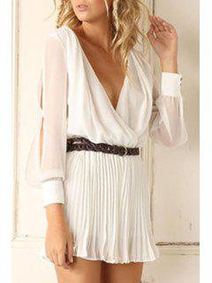 Cut Out Plunging Neck Solid Color Pleated Dress - White S