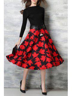 Bird Print Slash Neck Nine-Minute Sleeve Dress - Red With Black M