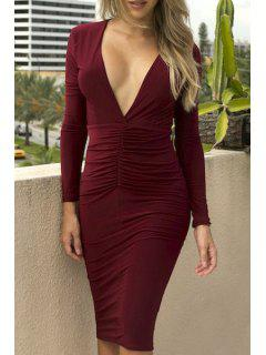 Plunging Neck Ruched Bodycon Midi Dress - Wine Red M