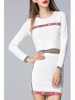 Argyle Pattern Round Collar Sweater And Skirt Twinset - White