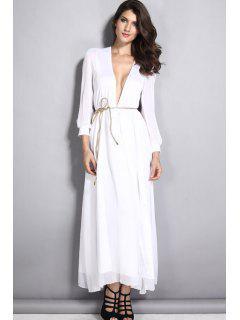 White Plunging Neck Long Sleeve Maxi Dress - White