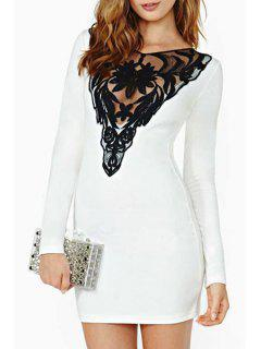 Lace Hook Spliced V-Neck Long Sleeve Dress - White 2xl