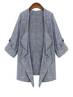 Solid Color 3/4 Sleeve Open Front Coat - Gray M
