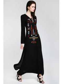 Embroidered Plunging Neck Long Sleeve Maxi Dress - Black M