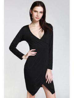 Long Sleeve Overlap Bodycon Dress - Black Xl