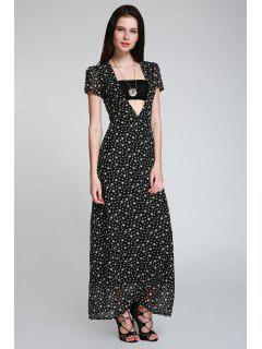 Full Star Print Maxi Plunge Dress - Black M