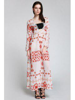 Red Print Plunging Neck Long Sleeve Maxi Dress - White L