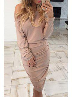Ruched One-Shoulder Long Sleeve Bodycon Dress - Khaki Xl