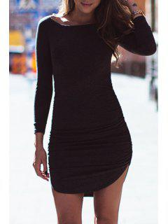 Pure Color Boat Neck Bodycon Dress - Black S
